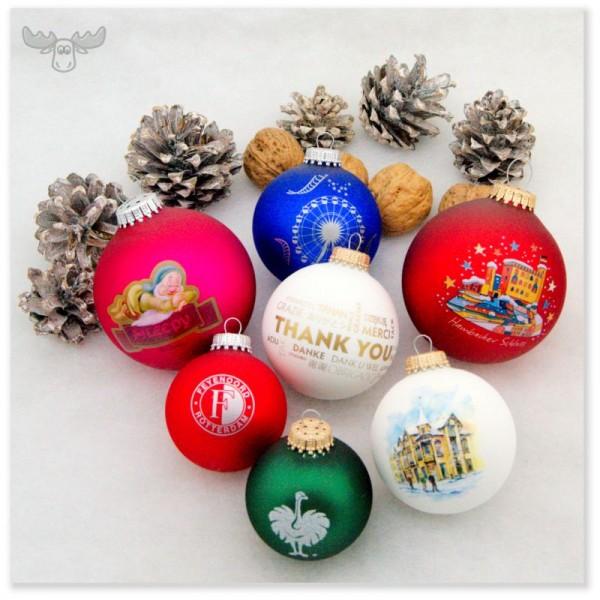 Weihnachtskugeln mit Logo-Aufdruck in vielen Farben und Größen