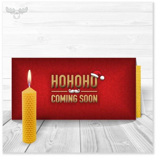 Weihnachtskarte HOHOHO rot mit Bienenwachskerze zum Selberdrehen