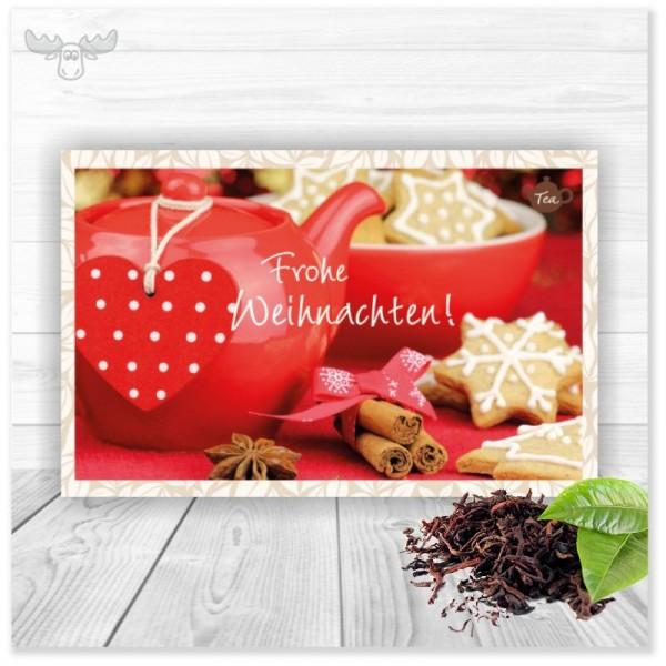 Tee-Postkarte mit Motiv Teekanne für den leckeren Weihnachtsgruß an Ihre Kunden