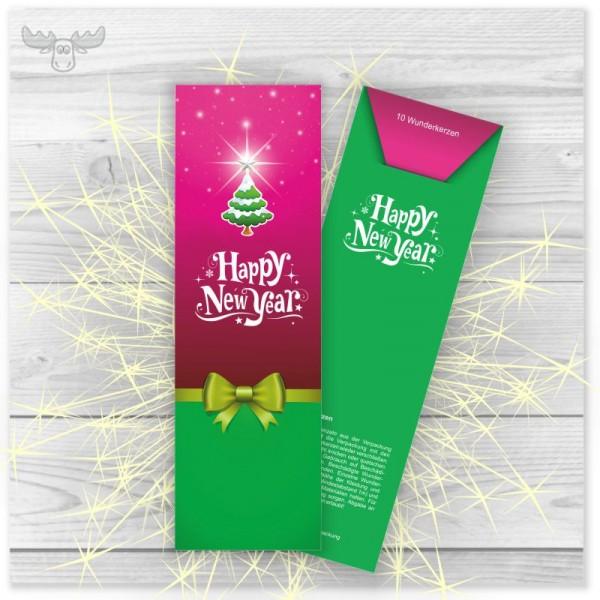 Wunderkerzen in Kartonstecktasche Happy New Year Pink Grün