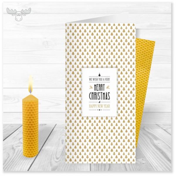 Weihnachtskarte Weihnachtsbaumtapete Merry Christmas mit Bienenwachskerze zum Selberdrehen
