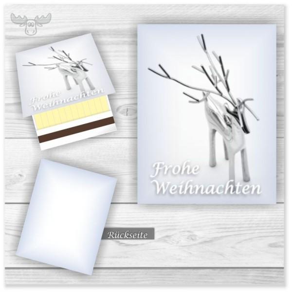 Zündholz-Briefchen Weihnachten & Winter mit schlichtem Motiv edles Rentier - Frohe Weihnachten