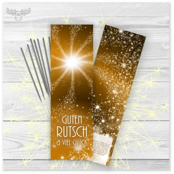 Wunderkerzen in Kartonstecktasche Silvester in Gold