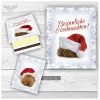 Zündholzbriefchen mit Weihnachtshund - Besinnliche Weihnachten