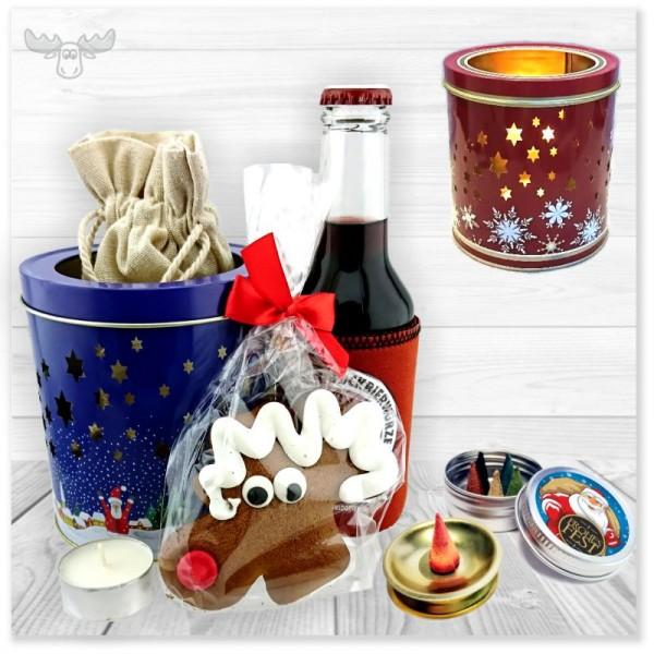 Weihnachtliches Präsenteset mit Lebkuchen, Räucherkerzen, Wein und Teelichtdose