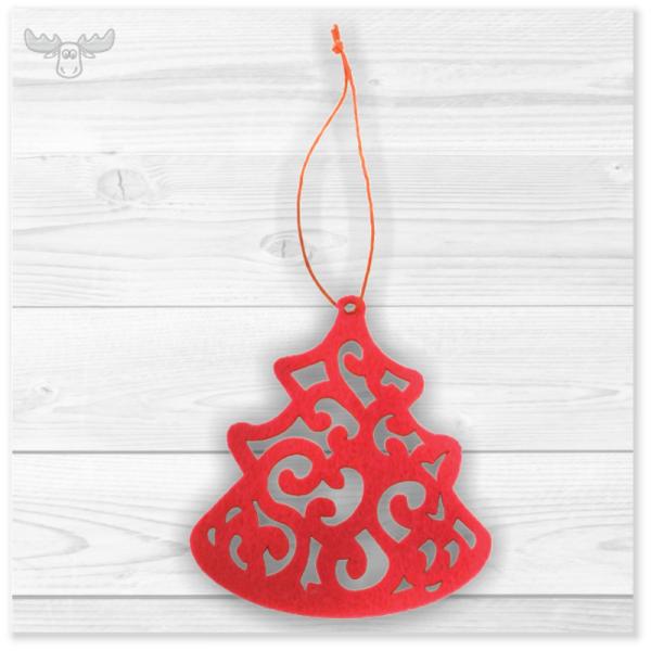 Anhänger Weihnachtsbaum aus Filz: Rote Tanne