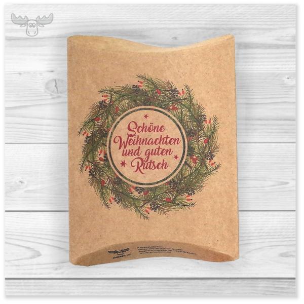 Tee-Geschenke Weihnachten in Kissenverpackung Kranz - Schöne Weihnachten mit 4 Teebeuteln