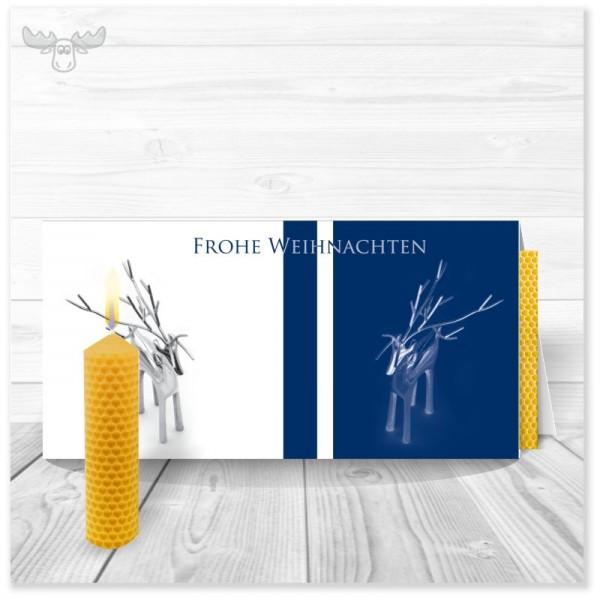 Weihnachtskarte Edles Rentier - Frohe Weihnachten mit Bienenwachskerze zum Selberdrehen