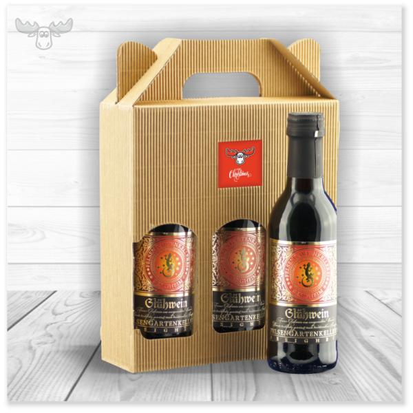 Glühwein - kleine Flaschen 3er-Set rot im Geschenkkarton mit xmaskom-Logo