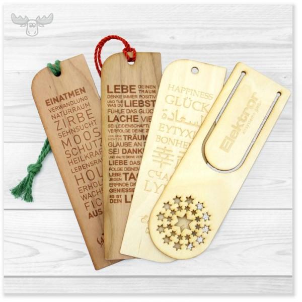 Lesezeichen aus Holz mit Weihnachtsmotiven
