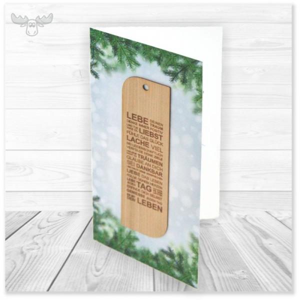 Weihnachtskarte mit Holz-Lesezeichen | Add-On Karten Dreams mit Holz-Lesezeichen Gedicht