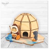 Bastelset Räucherhaus Iglu aus Holz mit Farbe