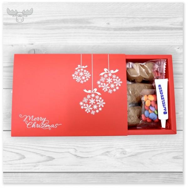 "Lebkuchen-Bastelset im Geschenke-Schuber ""Merry Christmas"" in Rot"