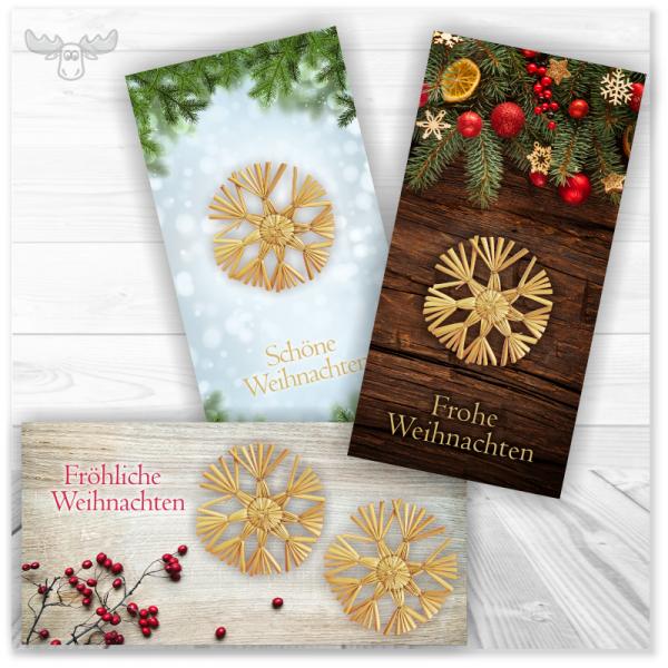 Weihnachtskarte mit Strohstern als Applikation auf der Karte