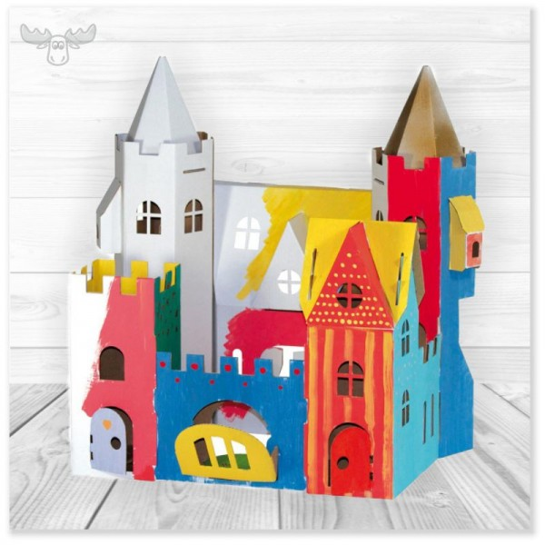 Bastelset für Kindergarten   Großes Kinder-Bastelset aus Pappe Schloss bemalt