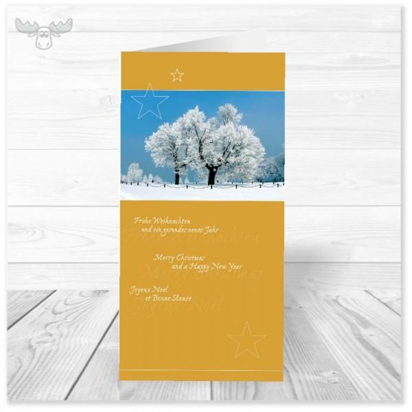 Weihnachtskarte für Mitarbeiter - Winterlandschaft gelb