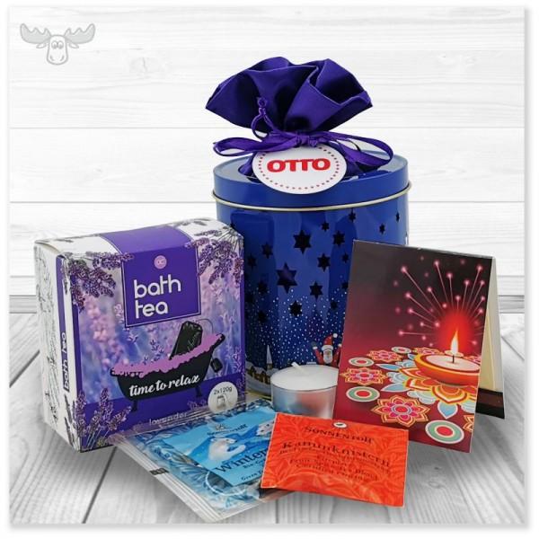 Geschenkset Wellness mit Badetee Lavendel, Zündholzbriefchen Lichterfest und blauer Teedlichtdose