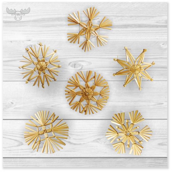 6er-Set weihnachtliche Strohsterne (bunte Mischung)