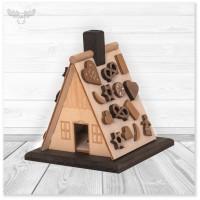 Bastelset Räucherhaus - Hexenhaus aus echtem Holz zum selber basteln