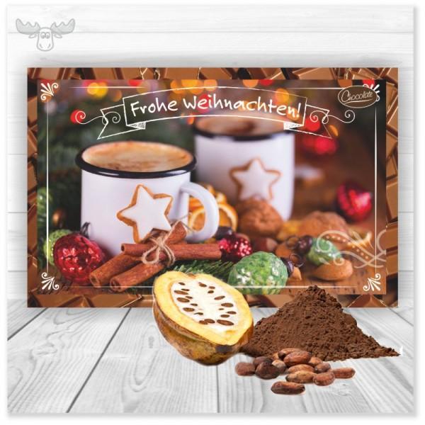 Kakaokarte heiße Schokolade für den leckeren Weihnachtsgruß