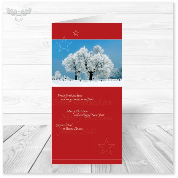 Firmen-Weihnachtskarte Winterlandschaft (rot) online kaufen