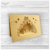 Weihnachtskarten DIN A7 aus Holz | Kunden-Weihnachtspost mit Kerzen