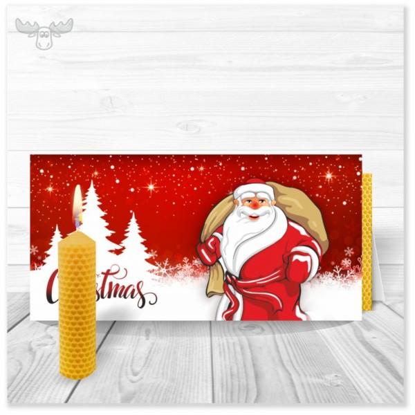 Weihnachtskarten mit Kerze - Motiv: Santa Claus