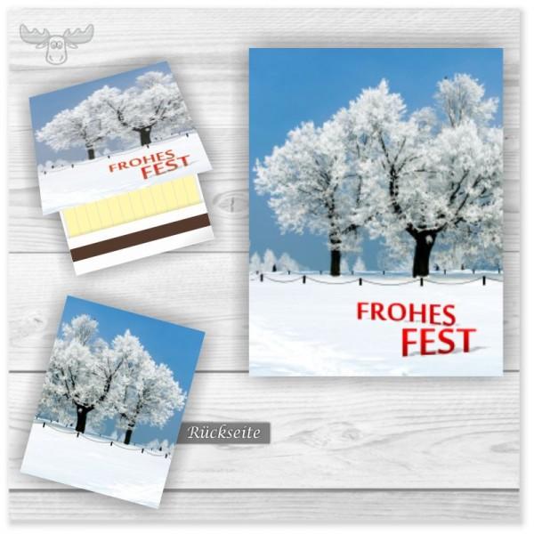 Streichholzbriefchen miit Winterlandschaft - Frohes Fest