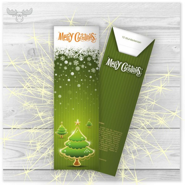 Wunderkerzen in Kartonstecktasche Motiv Weihnachtsbäume - Merry Christmas