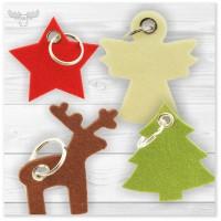 Weihnachtliche Schlüsselanhänger aus Filz | Give-Aways