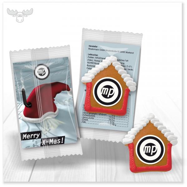 """Weihnachts-Lebkuchenhaus """"Mini"""" mit Zuckerguss und Logodruck mit Karte im Kundendesign"""