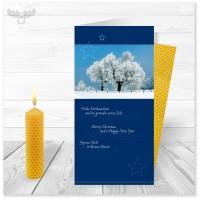 Weihnachtskarte Winterlandschaftr blau mit Bienenwachskerze zum Selberdrehen