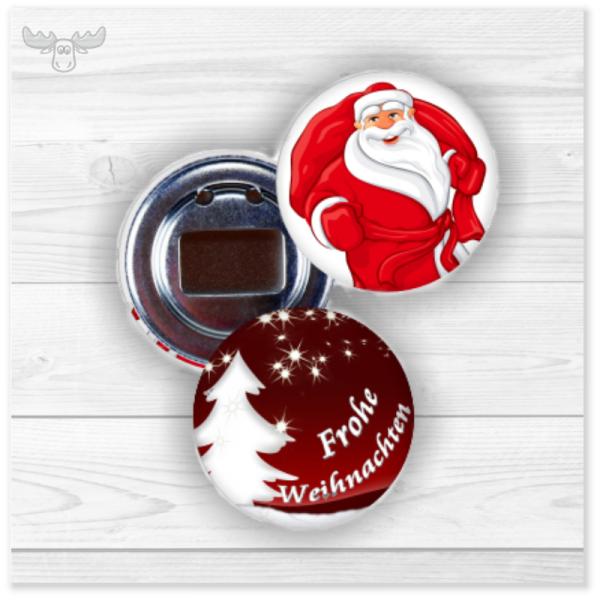 Weihnachts-Flaschenöffner im Buttonformat