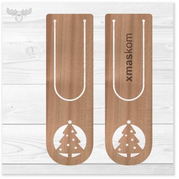 Lesezeichen aus Kirschholz mit Clip und Stanzmotiv Weihnachtsbaum