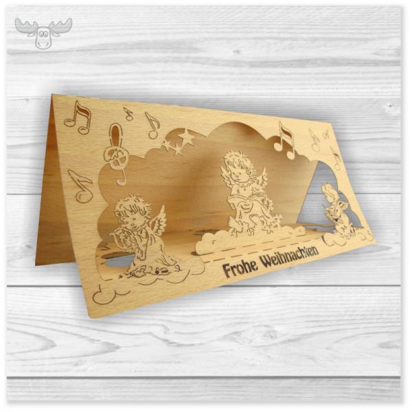 Holz Weihnachtskarten.Holz Weihnachtskarten Mit Aufklappfunktion