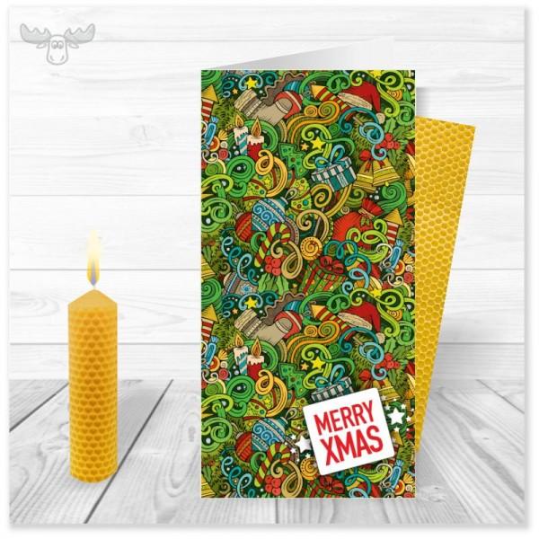 Weihnachtskarte CHristmas Doodle Merry xmas mit Bienenwachskerze zum Selberdrehen