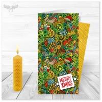Weihnachtskarte Christmas-Jungle Merry xmas mit Bienenwachskerze zum Selberdrehen