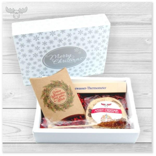 Geschenkset Tee | Hochwertiges Tee-Präsent-Set für Firmen mit Bio-Tee, Bio-Cookie (oder Lebkuchen) und Tee-Thermometer im schönen Geschenkeschuber in weiß