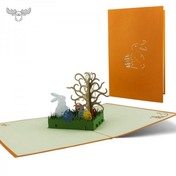 Pop-Up Karte Ostern: Osterhase im Garten