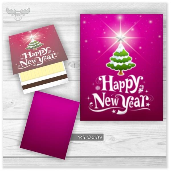 Zündhölzer Werbegeschenk Neujahr - Happy New Year in Pink