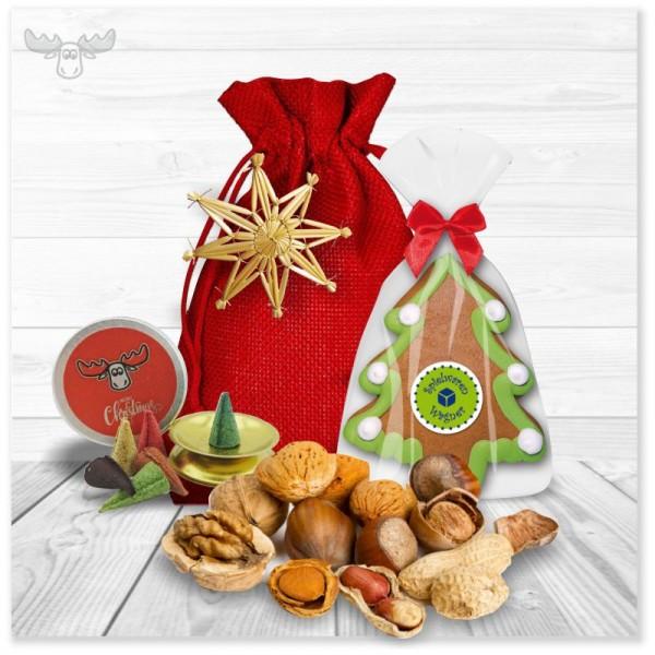 Nikolaus-Geschenkset mit Lebkuchen, Räucherkerzen, Nüssen und Strohstern am Jutebeutel