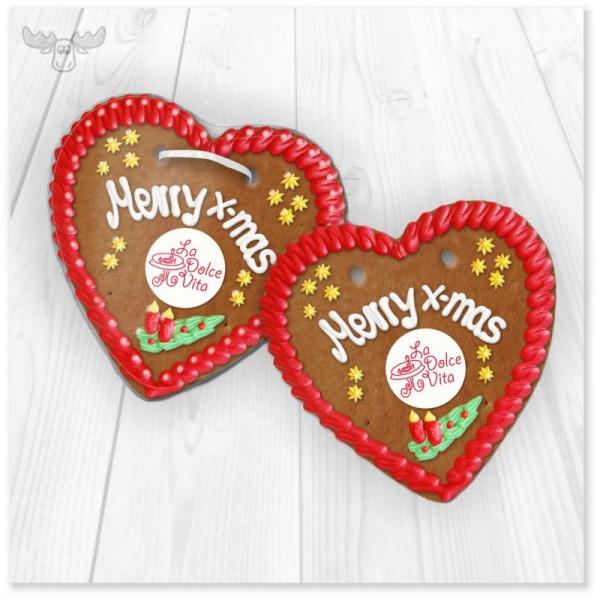 Lebkuchen in Herzform merry x-mas