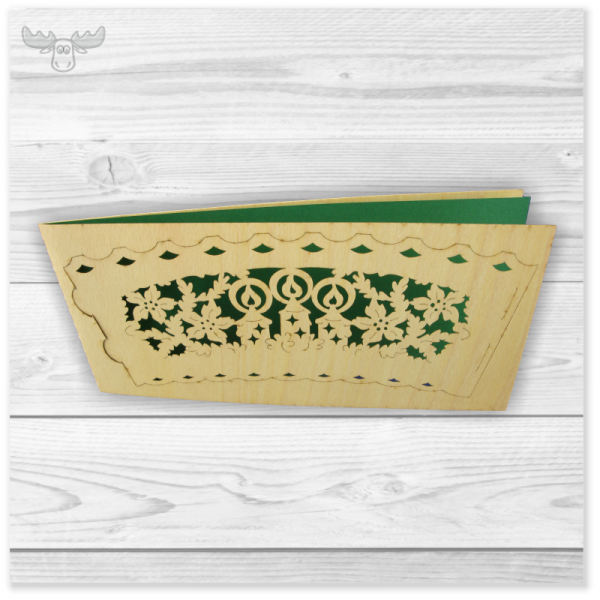 Teelicht-Weihnachtskarte aus Holz