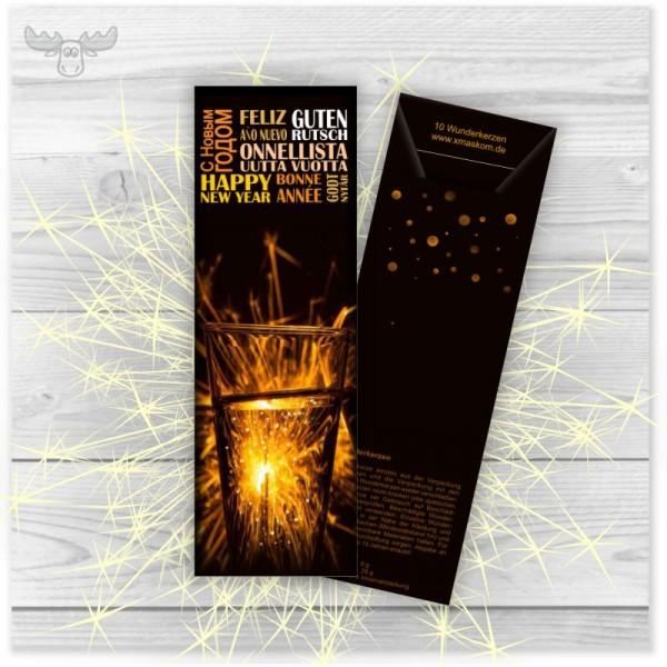 Wunderkerzen in Kartonstecktasche Silvester international dunkel