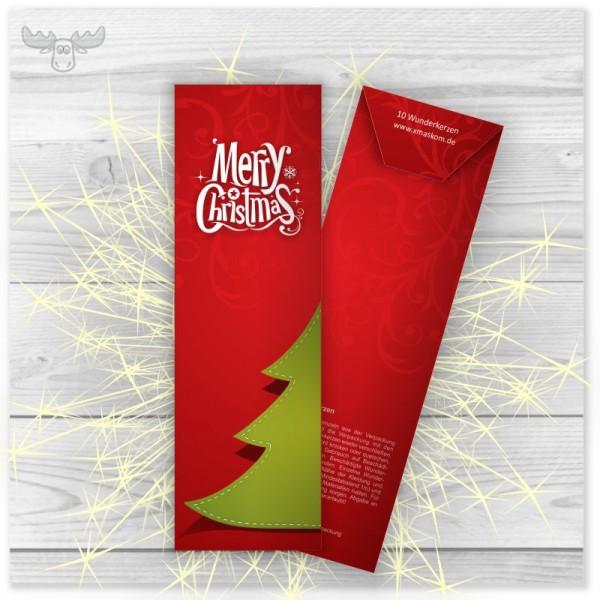 Wunderkerzen in Kartonstecktasche Tanne auf Rot Merry Christmas