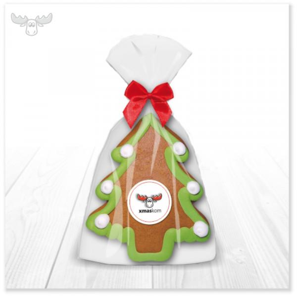 Saftiger Lebkuchen-Weihnachtsbaum mit xmaskom-Logo