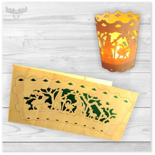 Weihnachtskarte mit Teelichthalter zum Heraustrennen Krippenmotiv