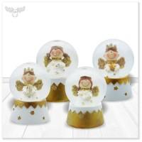 Engel-Schneekugel in Gold 4er-Set