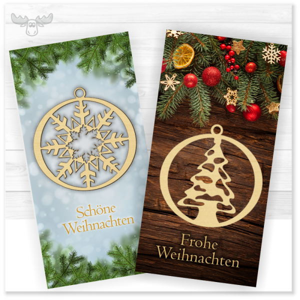 Give-Away-Weihnachtskarte mit Holz-Baumanhänger