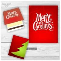 Streichholzbriefchen Merry Christmas in Rot mit Tanne